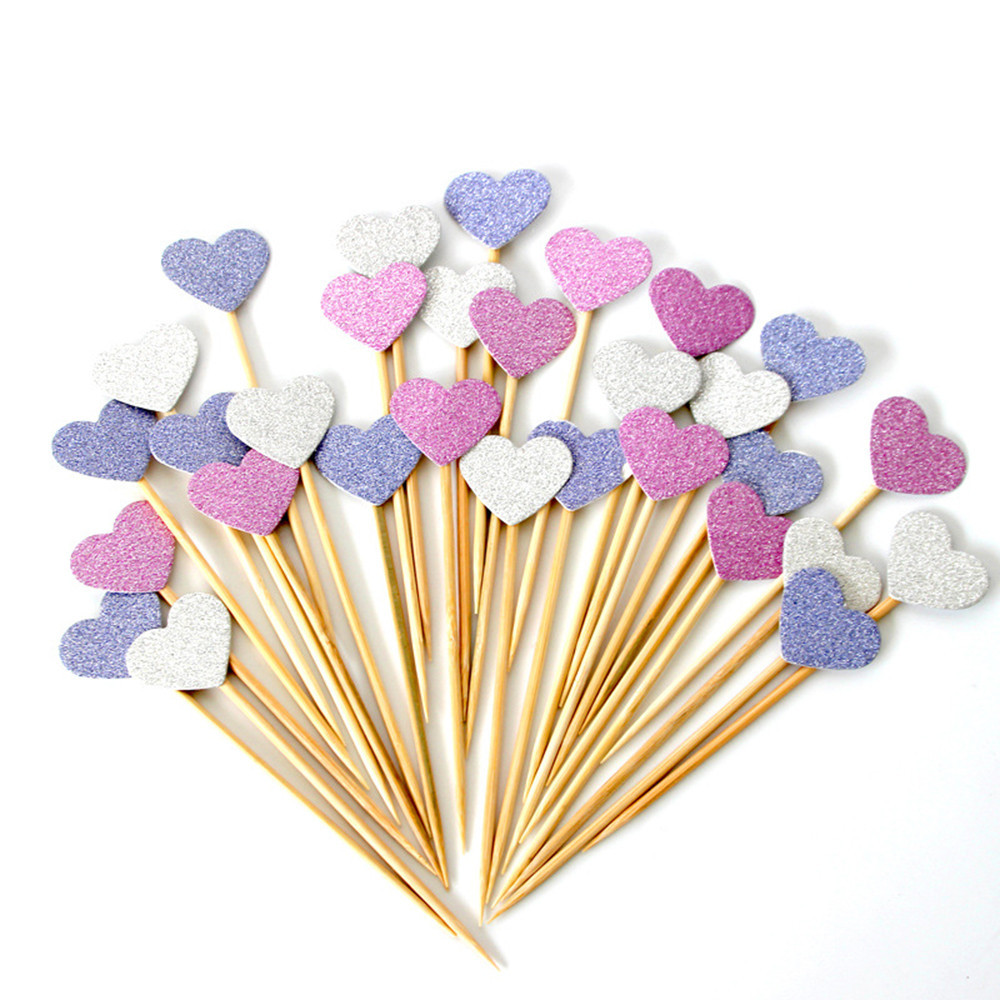 40 pieces lot handmade lovely pink heart cupcake toppers for Decoration stuff