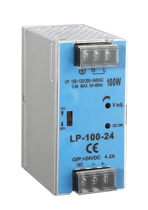 100w 24v DIN rail switching power supply 24volt 4.2A 100W Single Output SMPS input 110/220V high efficiency 45w din rail mount switching power supply 24v single output ac led input smps dr45 24v for cnc led light direct selling