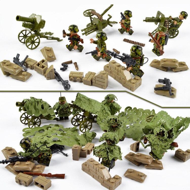 Armed Assault Military Army World War 2 Weapon SWAT Soldier Gun Heavy Fire Building Blocks Boy Educational Toy children Gift Kid