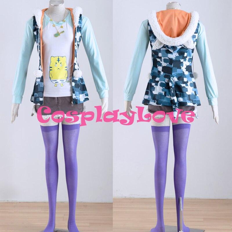 Custom Made Japanese Athemis SUPERSONICO Camouflage cosplay costume kit hooded jacket T-shirt necklace skirt 5 PCS any size