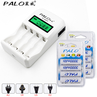 Smart LCD Indicator 4 Cell Battery Charger 4pcs Aa 3000mah NiMh Battery