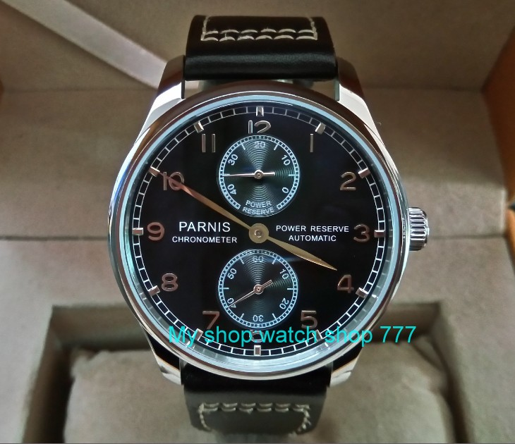 43mm PARNIS black dial ST25 Automatic Self-Wind movement men