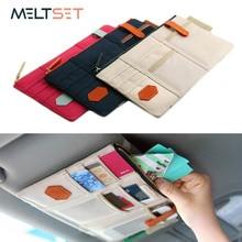 Multi Function Sun Visor Storage Bag Business Card Folder Glasses Stowing Tidying Organizer Car CD Holder Phone Hanging Bag