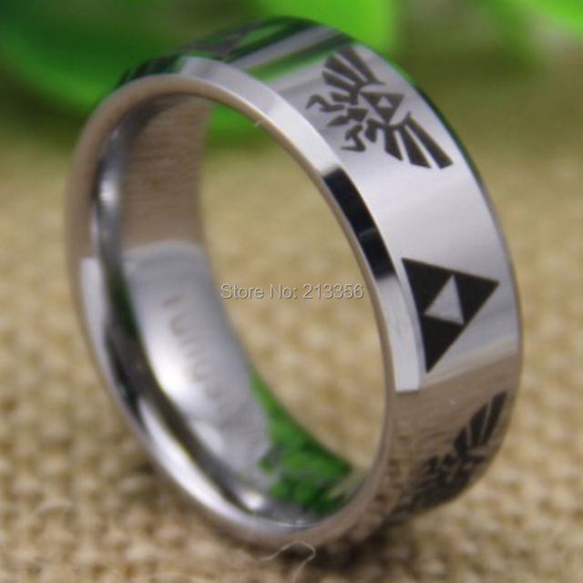Cheap Price Free Shipping 2013 USA UK CANADA Hot Selling 8MM Legend of Zelda Silver Bevel Tungsten Ring Men's Wedding Band Ring
