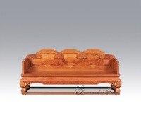 Китайский Royal палисандр мебель Padauk диван кровать 3 место тройной стул твердая деревянная кушетка Классическая антикварные кресла Sleeper