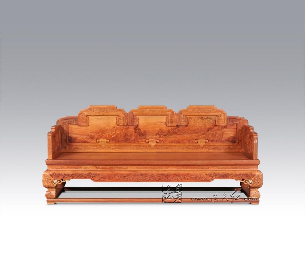 Chinese royal rosewood furniture padauk sofa bed 3 seat for Sofa bed 3 in 1
