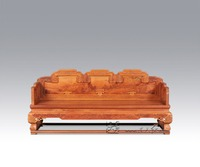 Chinese Royal Rosewood Furniture Padauk Sofa Bed 3 Seat Triple chair Solid Wood Chaise Lounge Classical Antique Recliner Sleeper