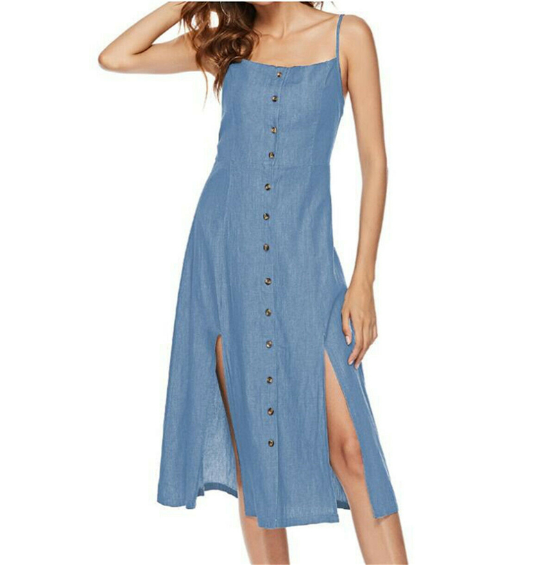 Female Women Summer Denim <font><b>Dress</b></font> Sleeveless <font><b>Jeans</b></font> Mid <font><b>Dress</b></font> <font><b>Sexy</b></font> Summer Ladies Holiday Party Sun <font><b>Dress</b></font> image