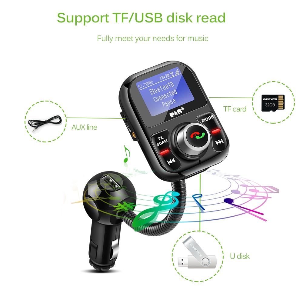 Voiture DAB Radio numérique dans la voiture avec émetteur FM affichage LCD Kit mains libres Bluetooth Audio numérique diffusion USB chargeur