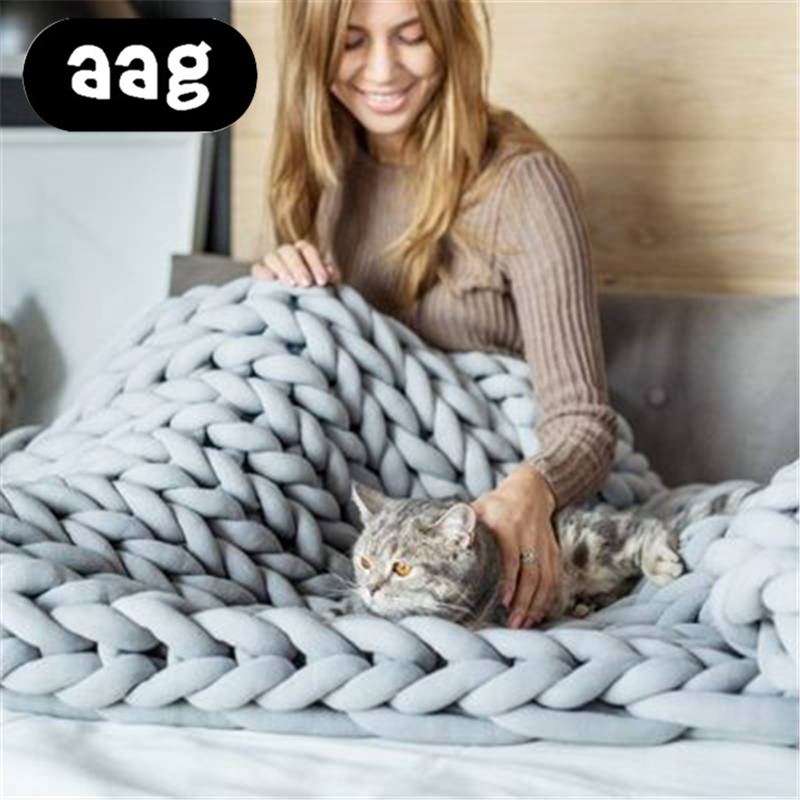 AAG Handmade Chunky Knitted Blanket Wool Bulky Warm Winter Sofa Bed Floor Home Decor Throw Drop Shipping