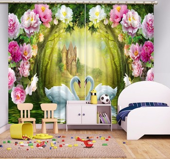 2018 Modern Primitive forest flowers Printing Blackout Curtains Living Room or Hotel Living room Curtain