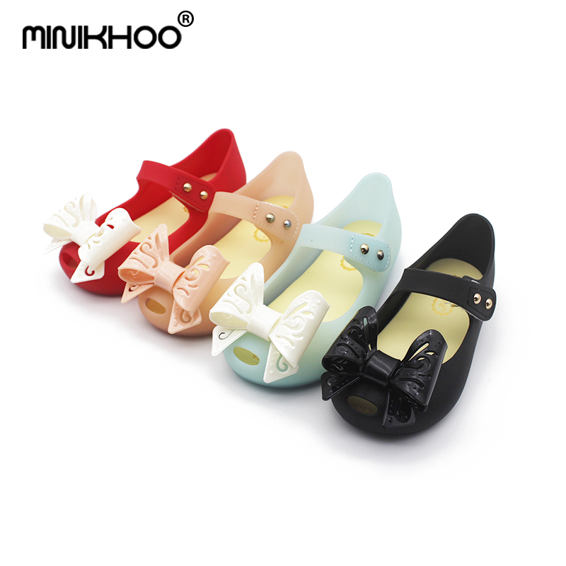 Mini Melissa High Quality Hollow Bow Tie Girl Jelly Sandals 2018 New Children Shoes Princess Sandals Melissa Sandals Non-slip
