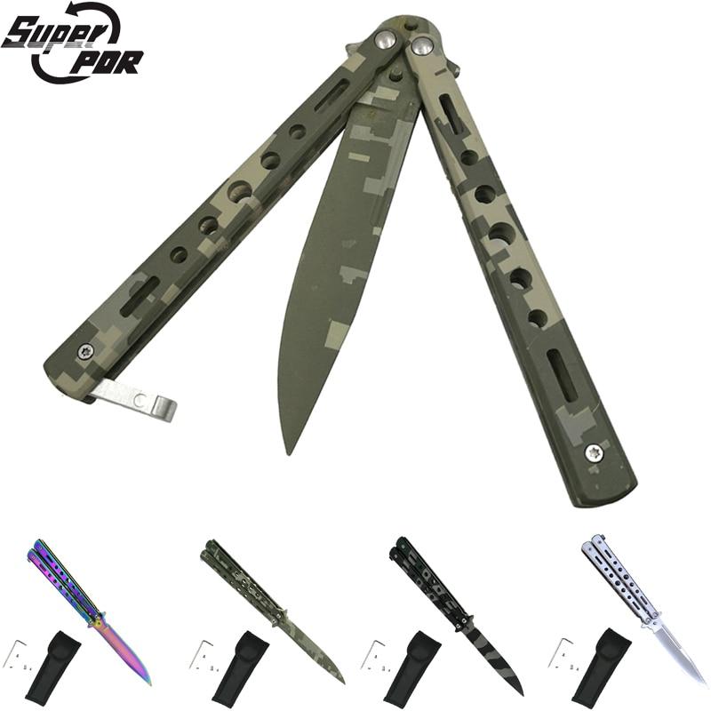 Super república democrática 4 colores de acero inoxidable cuchillo mariposa plegable hoja cuchillos Damasco Couteau mariposa formación cuchillo de caza