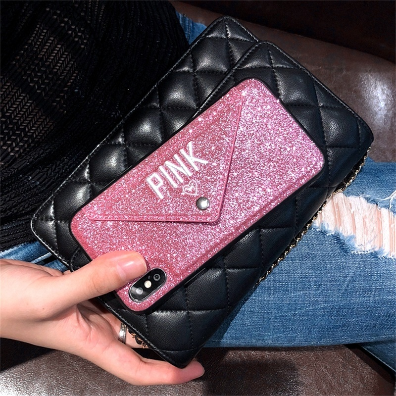 Luxury PINK NEW Glitter Embroidery Leather Hot Cute Pink Cases For iPhone 7 Case 8 6 6s Plus X Wallet Card Package Phone Case