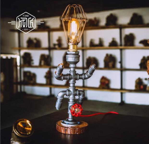 Edison Vintage Wood Water Pipe Table Lamps For Bedroom Living Room Loft Industrial Beside Lamp Lampara Luminaira De Mesa Abajur edison wood vintage industrial table lamp for bedroom living room water pipe beside lamps luminaria lampara de mesa abajur
