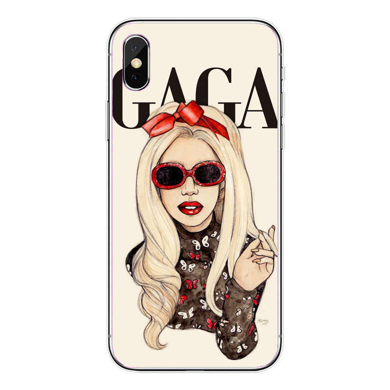 half off 6b0aa d0ca3 Popular Singer Sexy Lady Gaga Phone Case Cover For iPhone XS Max 5S SE 6 6S  6SPlus 7 7Plus 8 8Plus Soft silicone Case Cover