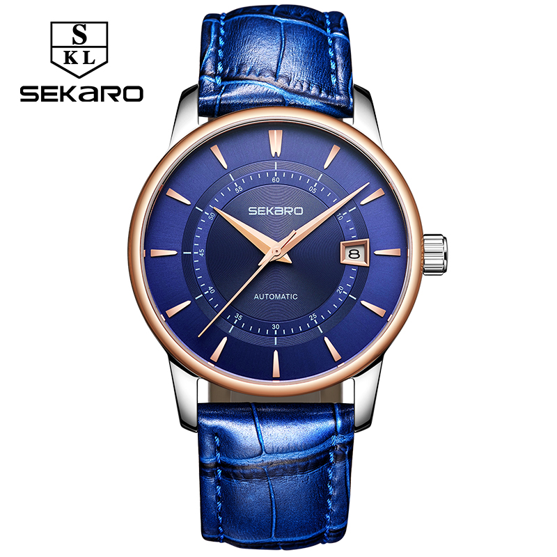 Sekaro Business Blue Leather Mechanical Wristwatches Stainless Steel Men's Watches Automatic Watch Men Luxury Brand Montre Femme vik max adult kids dark blue leather figure skate shoes with aluminium alloy frame and stainless steel ice blade