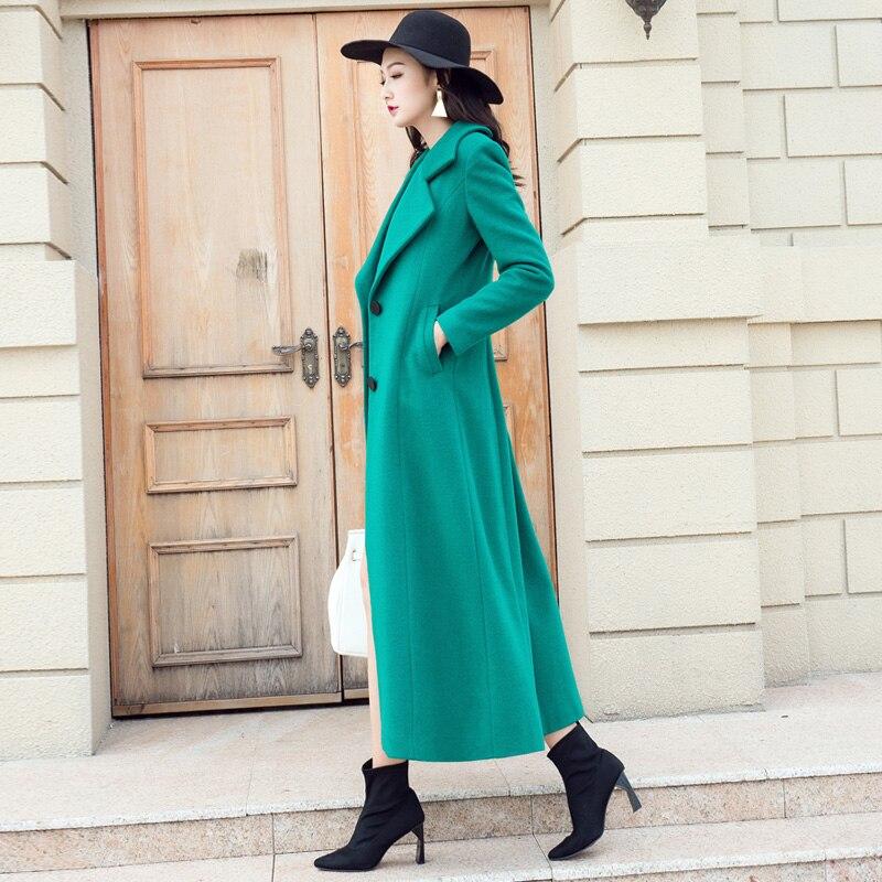 Manteaux Élégante Longues De Plus Couleur Vert Ultra La Taille Solide 2018 Laine Nouveau Mode Hiver Outwear Femme Green Pardessus Femmes Automne HqxnzCg