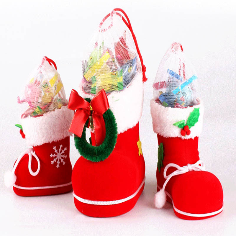 Merry Christmas Candy Gift Bags Santa Boot Shoes Hanging Xmas Tree Decoration J2Y