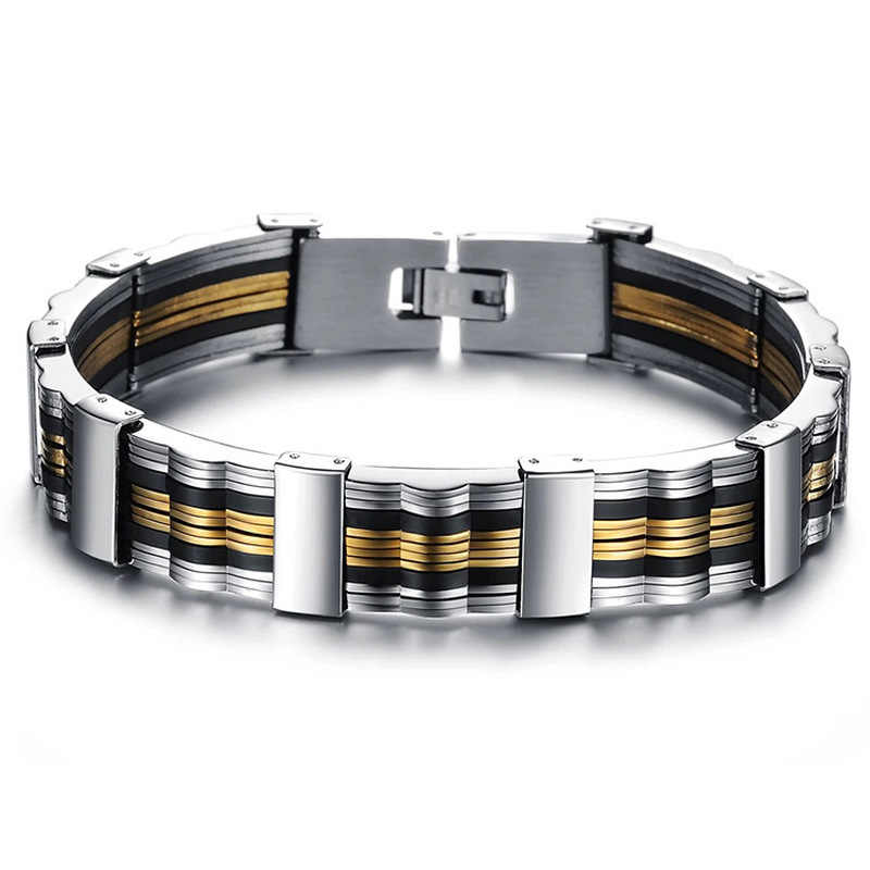 MD Men  Bracelet High Quality Stainless Steel & Black Gold Mens Bracelets Jewelry Wristbands