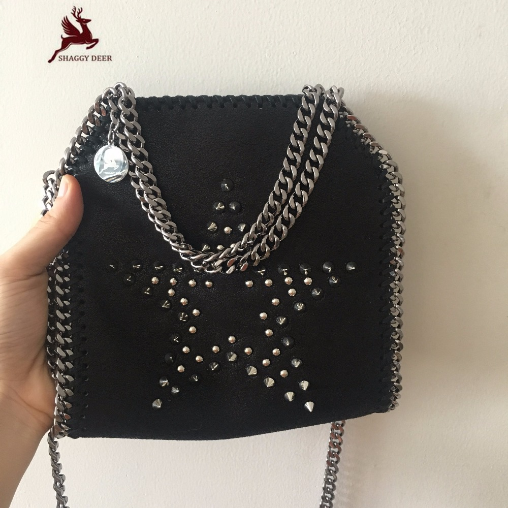 MINI 18cm Shaggy Deer Luxury Quality PVC Black Stella Rivet Star Chain Bag Lady Party Daily Shoulder Bag mini gray shaggy deer pvc quilted chain bag with cover real picture