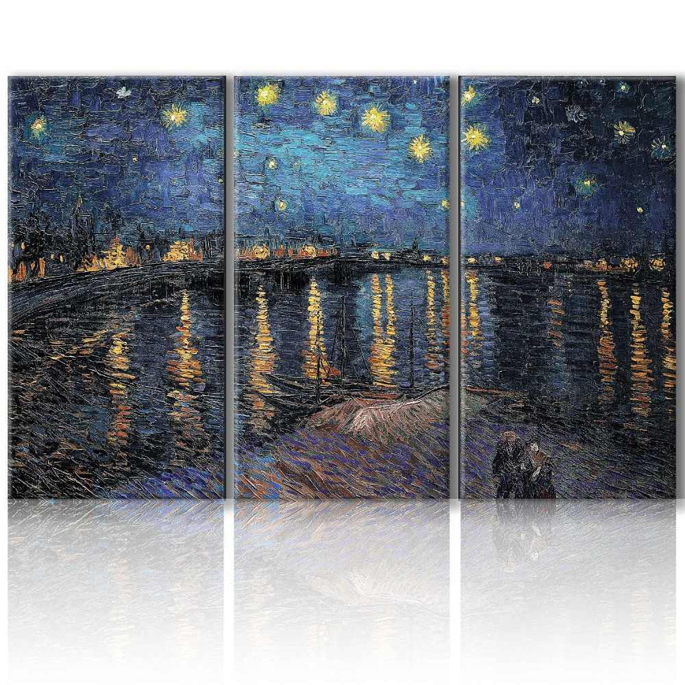 3 Panel impression starry night  river scenery canvas printings painting printed on canvas home wall art decoration picture