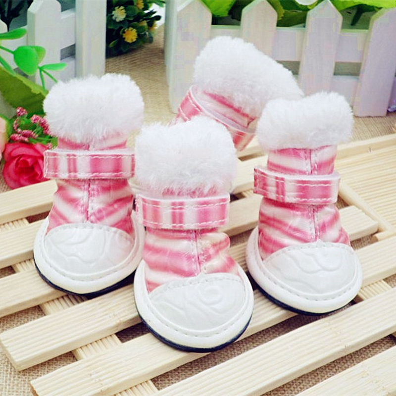Dog Shoes Winer Boots Fashion Pet Shoe 4Pcsset Pink,Blue-In Dog Shoes From Home -6363