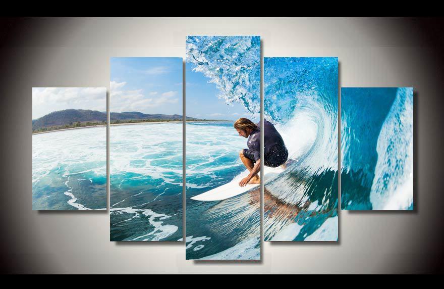2016 New Cuadros Framed Men Water Wet Surf Group Painting Children\'s ...