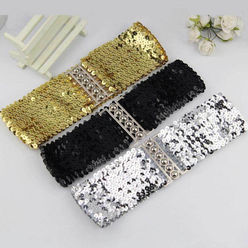Women Fashion Waistband Dress Accessories Vintage Manual Sequins Belt Straps 2018 Design Buckle Leather Belt Waistband