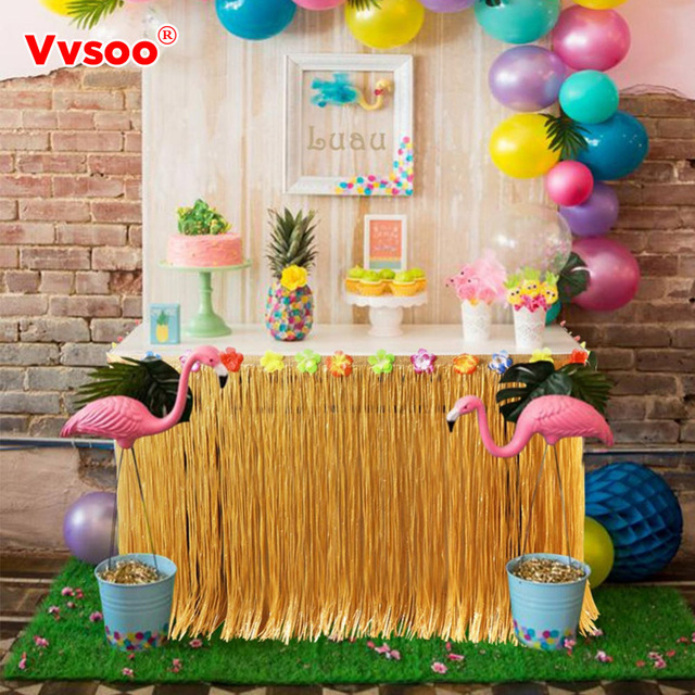 Vvsoo Hibiscus Flower Artificial Grass Table Skirt Hawaiian Summer