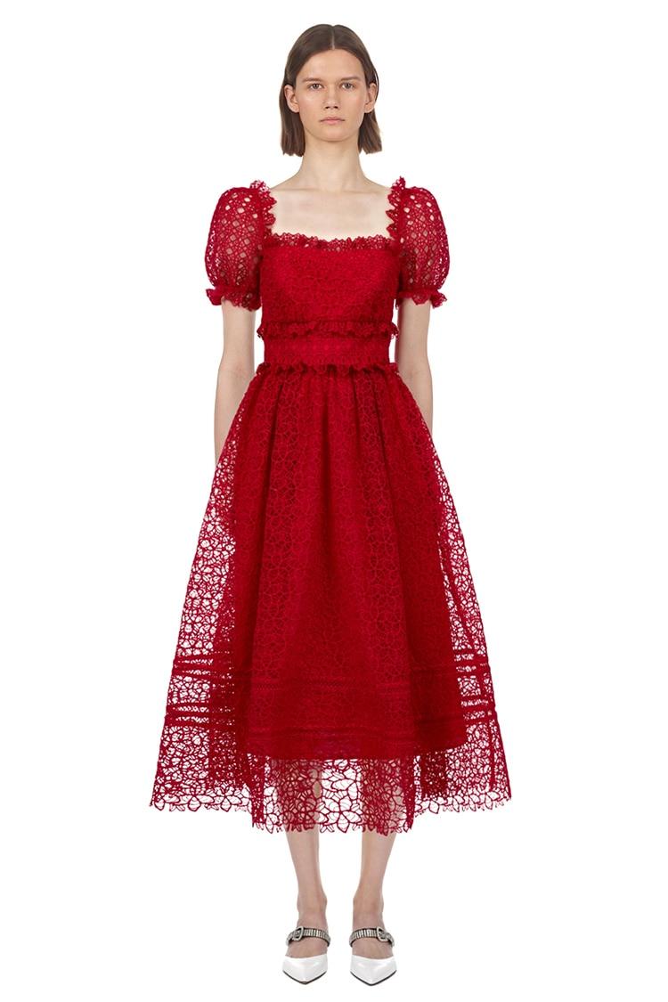 2019 new arrive red lace dress elegant midi women party dress high quality