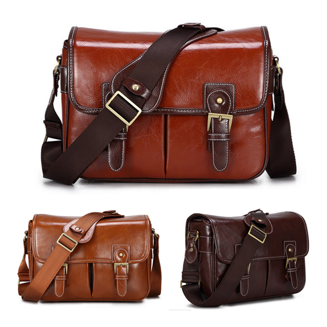Roadfisher Pu Leather Retro Vintage Women Men Travel Slr Dslr Camera Bag Shoulder Messenger Insert