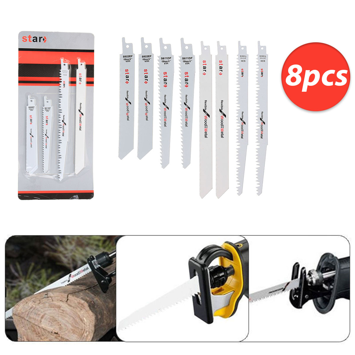 8pc Set Reciprocating Saw Blades Wood Metal Cutter Blade For Makita Hitach недорого