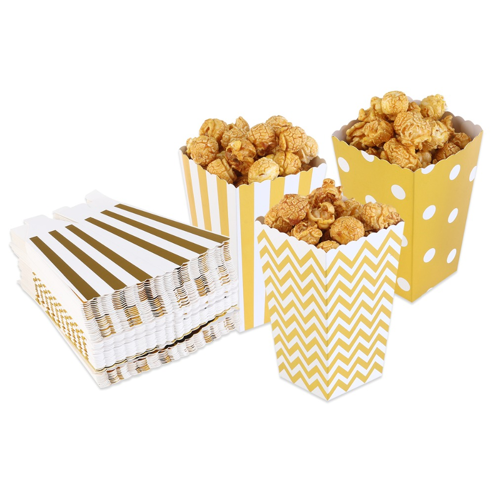 100pcs Metallic Gold Foil Striped Polka Dot Chevron Paper Popcorn ...