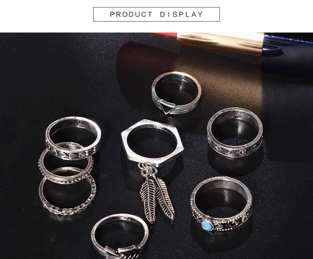WLP Böhmen wind retro blatt blau stein dreieck hohl Midi Ring Set Vintage Kristall hand Knuckle Ringe Für Frauen 8 teile/satz