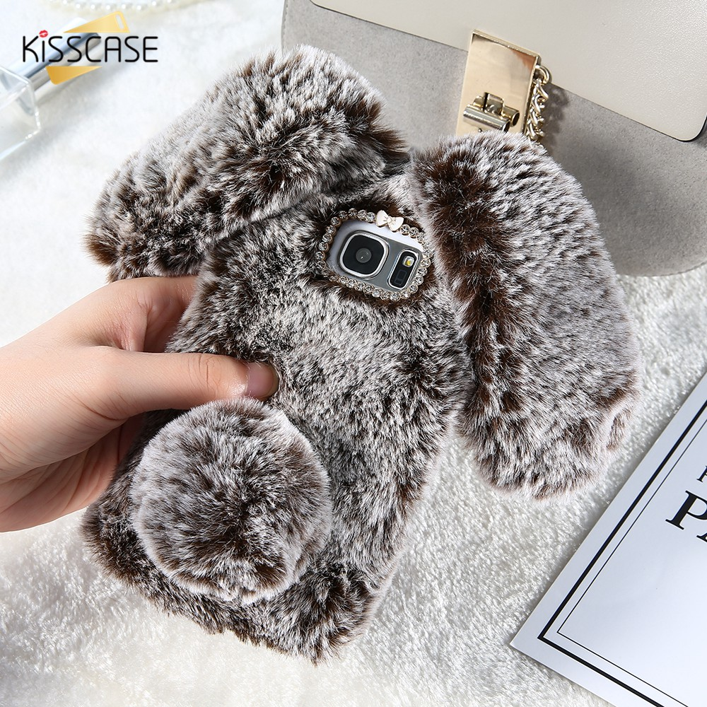 Galleria fotografica KISSCASE Rabbit Hair Case For Samsung A3 A5 A7 J3 J5 J7 2016 2017 Fluffy Fur Soft Case For Samsung Galaxy S8 S9 Plus Note 9 8