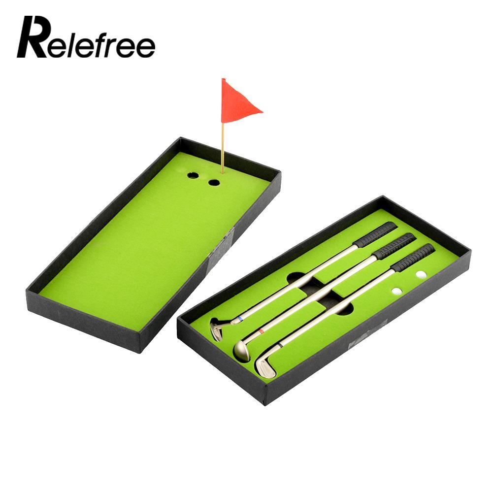 Relefree 3Pcs Golf Clubs Models Ballpoint Pen 2 Golf Balls Flag Putter Set Gift Three Colors New High Quality