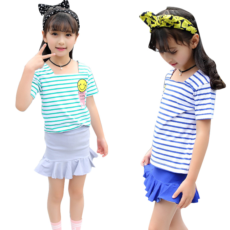 Kids Clothes Sets for Girls Summer Cotton Outfits for Children Clothing Sets Girls Striped Tops & Skirts Suits 2 8 9 10 12 Years