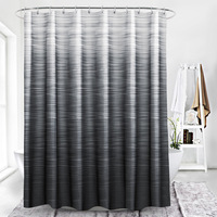 72 x 78 inch Mouldproof Polyester Fabric Shower Curtain Liner Gray White Striped Waterproof Bath Curtain with Plastic Hooks
