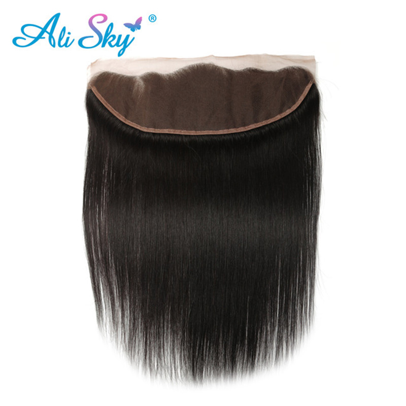 Alisky Hair Peruvian Straight Remy Hair Ear To Ear Lace Frontal Closure 13*4 100% Human Hair 8-22 Inch Natural Color Wholesale