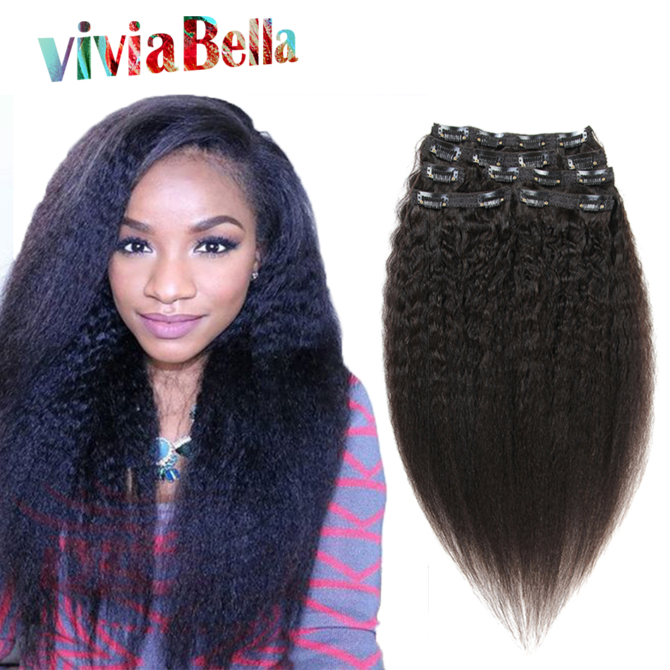 Unprocessed Afro Kinky Straight Clip In Hair Extensions 10 26