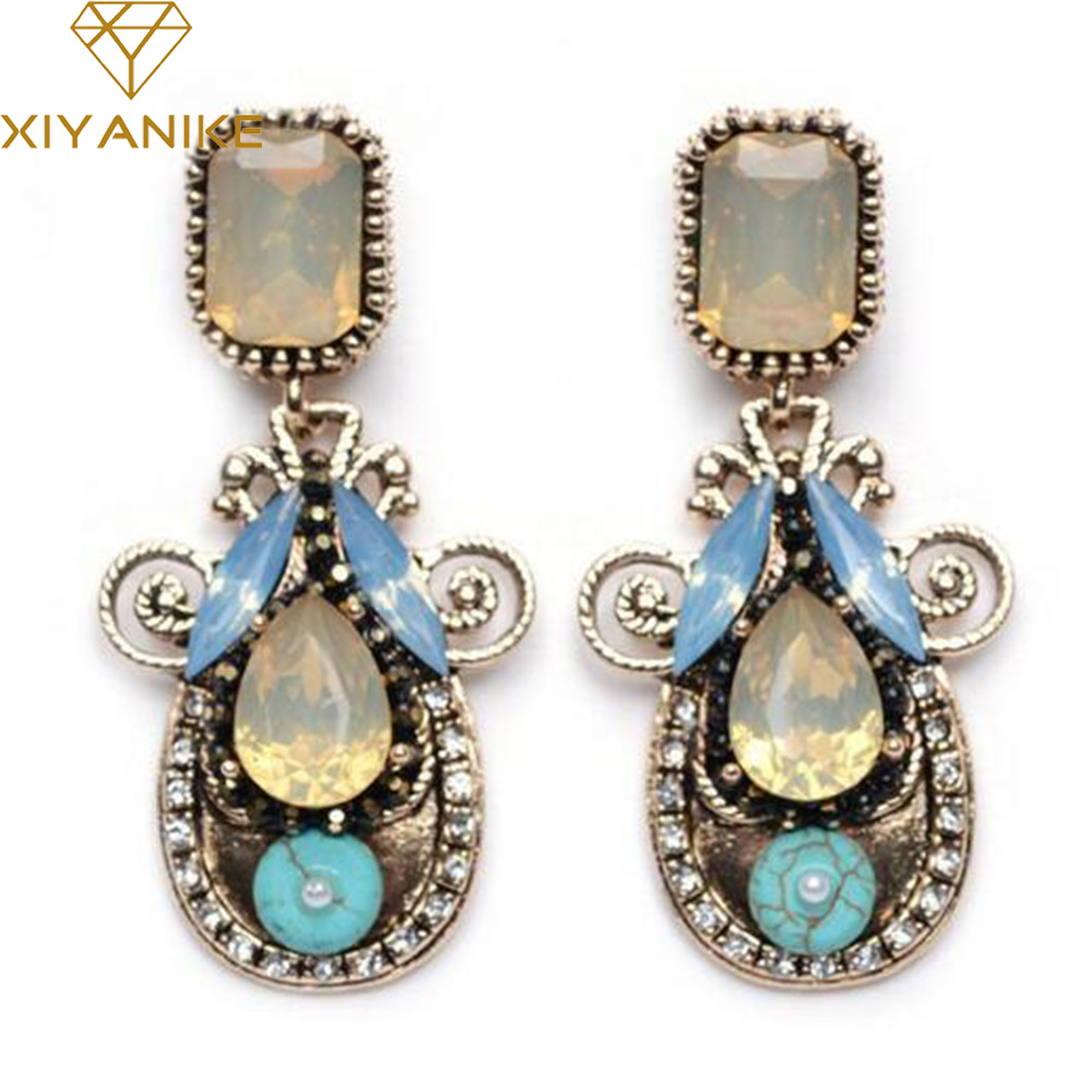 New Fashion Vintage Luxury Gem Exaggerated Earrings Jewelry For Women Brand Earrings des boucles doreilles bijoux XY-E33 ...
