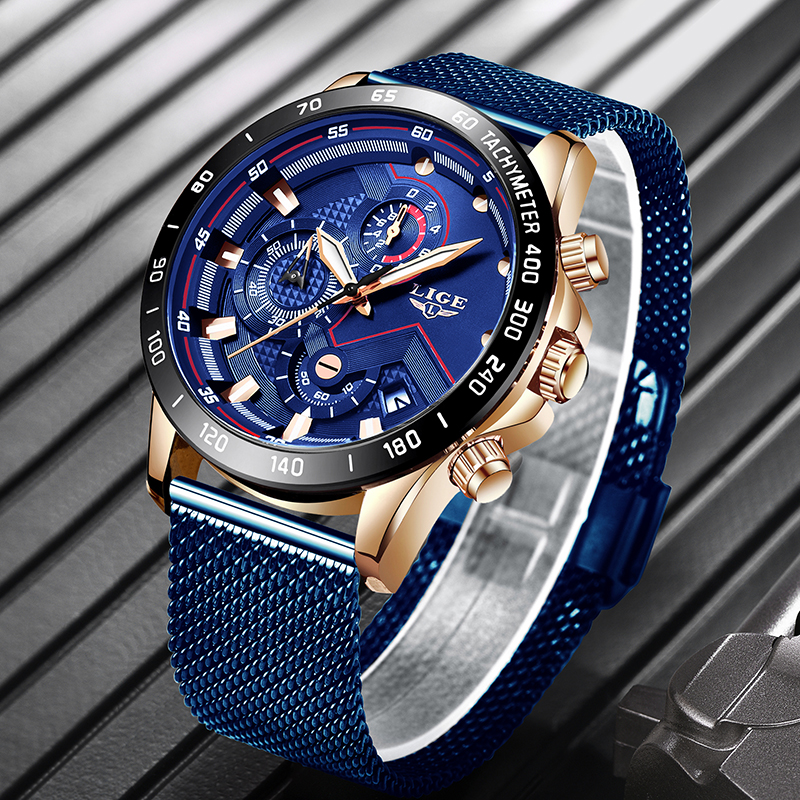 2019 New LIGE Blue Casual Mesh Belt Fashion Quartz Gold Watch Mens Watches Top Brand Luxury Waterproof Clock Relogio Masculino 1