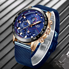 LIGE Mens Watches Clock Belt Quartz Blue Top-Brand Waterproof Casual Fashion Luxury Mesh