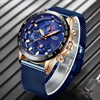 2019 nowy LIGE niebieski swobodna siateczka pas moda złoty zegarek kwarcowy męskie zegarki Top marka luksusowy wodoodporny zegar Relogio Masculino tanie i dobre opinie 25 5cm Moda casual QUARTZ 3Bar Hook buckle STAINLESS STEEL 12mm Hardlex Kwarcowe Zegarki Na Rękę Papier 44mm LIGE9929