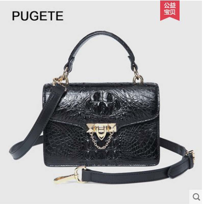 pugete 2019 new alligator leather lady bag with one shoulder luxury air chain diagonal cross - shaped handbag trend