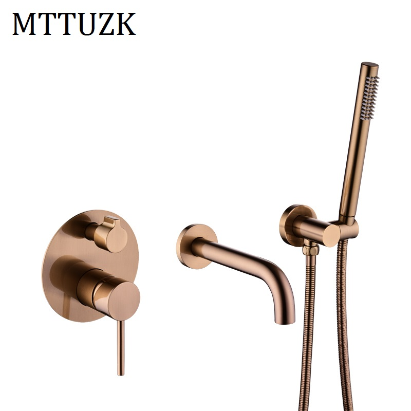 MTTUZK Solid Brass Rose gold Wall Mounted Bathtub Mount Shower Set Bathtub Filler Hot Cold Mixer