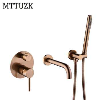 MTTUZK Solid Brass Rose gold Wall Mounted Bathtub Mount Shower Set Bathtub Filler Hot & Cold Mixer Valve 2 Function Taps - DISCOUNT ITEM  29% OFF All Category