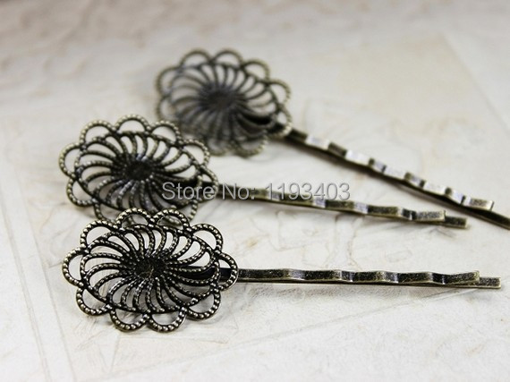 100PCS vintage Antique Bronze hairpins cameo setting flower cabochon base hair accessories  jewelry DIY Findings(PINSS-7)