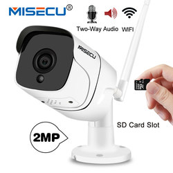 MISECU  Wifi IP camera 1080P Outdoor with 64GB SD Card Slot Two Way Audio1920*1080P Onvif P2P Wireless Email Alert Night vision